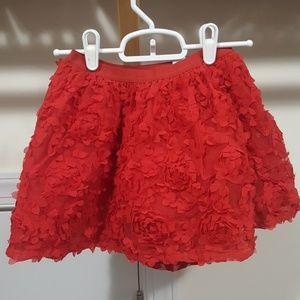 Girls red flower skirt